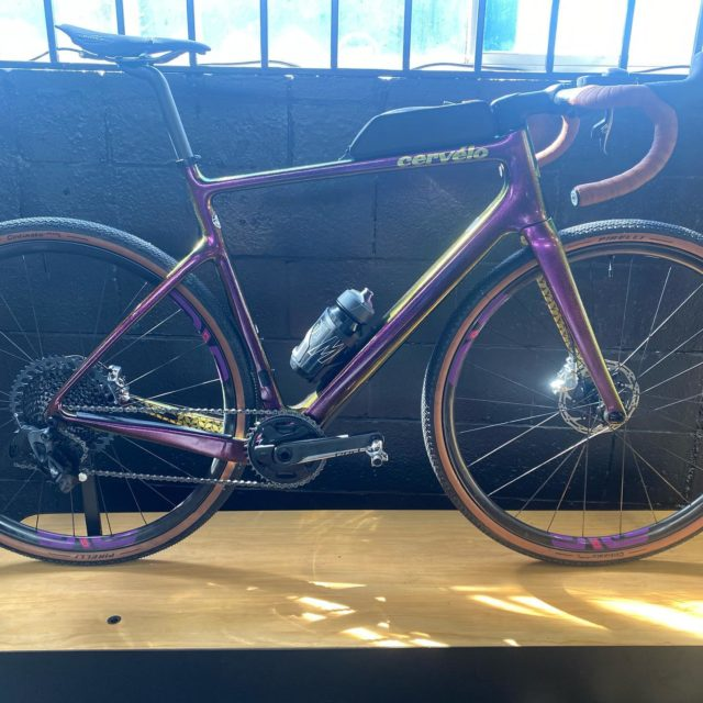 First ride of the stunning Purple Sunset, Cervelo Aspero 5.  Fitted with SRAM RED AXS, Enve G23, San Marco Short Fit Racing saddle, Pirelli Cinturato Hard 700x 40.   This bike is fast. Very smooth, quiet, and connects to the road. Sitting at 18 or 32km/hr the power transfer is instant. Enve wheels accelerate effortlessly and while I was running a little high pressure at 38, the Pirelli rubber provided confidence on the dry hard dirt.  When I hit the tarmac, it was is if I was on the Caledonia 5.  Easily hold road speed.   For a fast comfortable extremely light gravel bike, I would find this bike hard to beat!! Amazing.  Only problem, is the dirt in my mouth from all the smiling!!